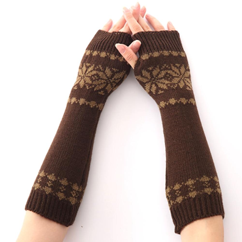 Girls Gift Knit Gloves Arm Long Fingerless Winter For Women Snow Pattern Warm
