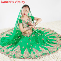 Kids Girls Indian Dance Big Hemlines Skirt Comperirion Performance Costume Oriental Belly Dance Group Stage Wear Outfits