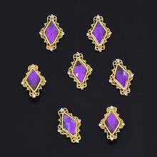 100 шт 3d украшения для ногтей сплав дизайна Стразы Сердце/ромб
