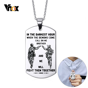 Vnox Personalized Stainless Steel Fraternal Dog Tag for Men Motorcycle Army Solier Brothers Tough Man BFF Necklaces Custom Gift