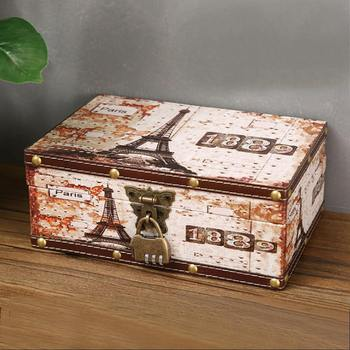 Retro Treasure Chest with Lock Vintage Wooden Storage Box Antique Style Jewelry Organizer for Wardrobe