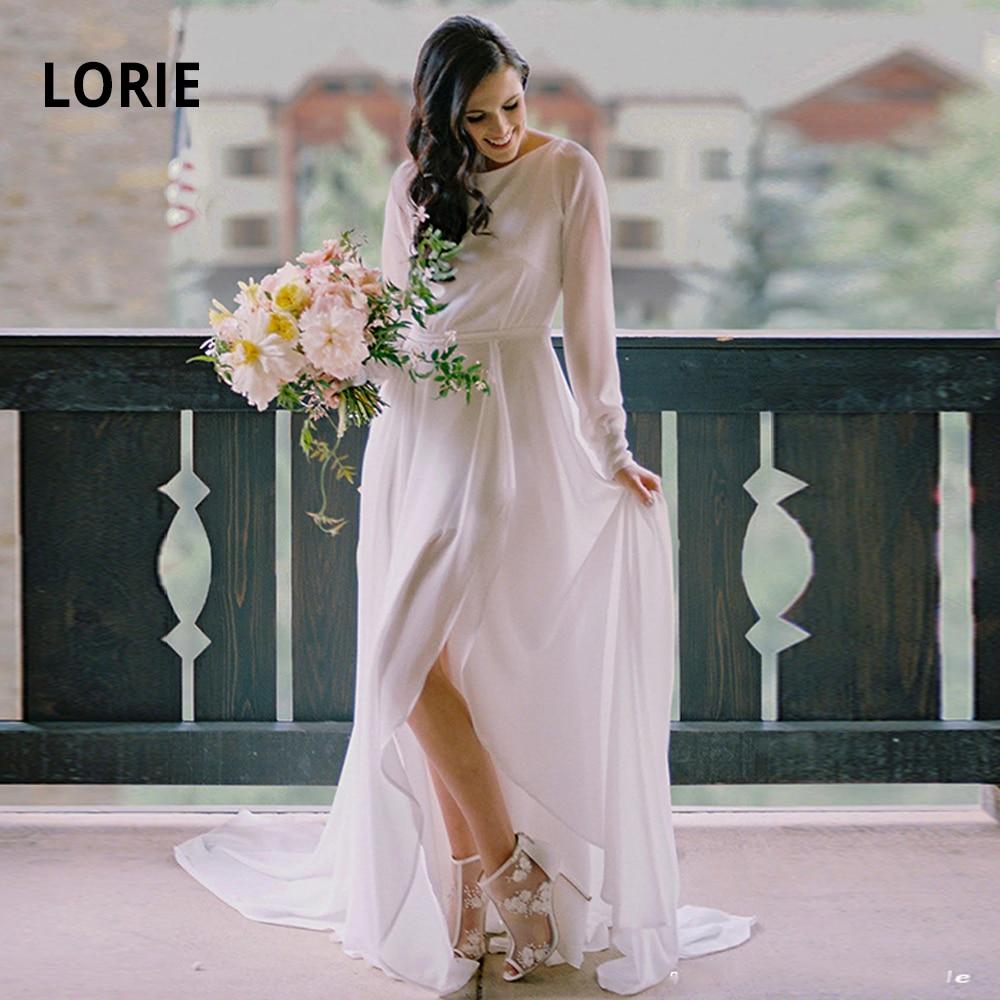 LORIE Beach Wedding Dresses  Boho 2019 Long Sleeve Soft Chiffon Bridal Gowns Open Back Vestido De Noiva With Slit Plus Size