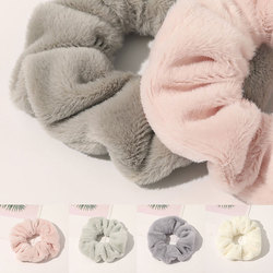 New Faux Rabbit Fur Hair Scrunchie Solid Color Plush Women Elastic Hair Bands Hair Ring Autumn Winter Women Girls Hair Rope Hot