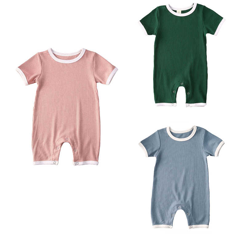 2020 Baby Summer Clothing Infant Newborn Baby Girls Ribbed Solid Romper Short Sleeve Jumpsuit