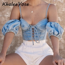 KHALEE YOSE Sexy Denim Crop Top Blouses Women Holiday Strappy Jeans Shirt Puff Sleeve Off Shoulder Party Night Blouse Shirts
