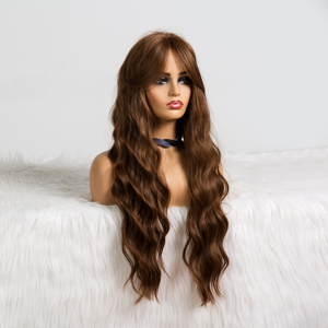 Image 4 - ALAN EATON Long Wavy Brown Wig with Bangs Synthetic Wigs for Black Women Heat Resistant Fiber Cosplay Party Natural Hair Wig