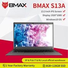 Bmax s13a 13.3 polegadas intel n3350 notebook window10 8gb lpddr4 128gb ssd 1920*1080 ips laptops intel