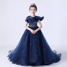 Flower Girl Dresses Illusion Beading Pearls Sequined Embroidery Short O-Neck Princess Tulle Luxury Navy Blue Kid Party Gown H539