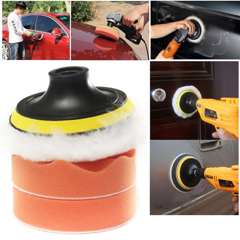 3 Inch Car Polishing Disc 80MM Self-adhesive Polishing Waxing 7 Piece Set Wool Wheel Wave Flat Sponge Wheel Beauty Waxing TSLM1