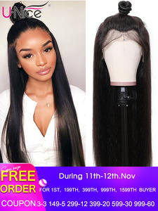 Unice Wig Human-Hair-Wigs Lace-Frontal Hair-360 180-Density Straight Brazilian Cheap