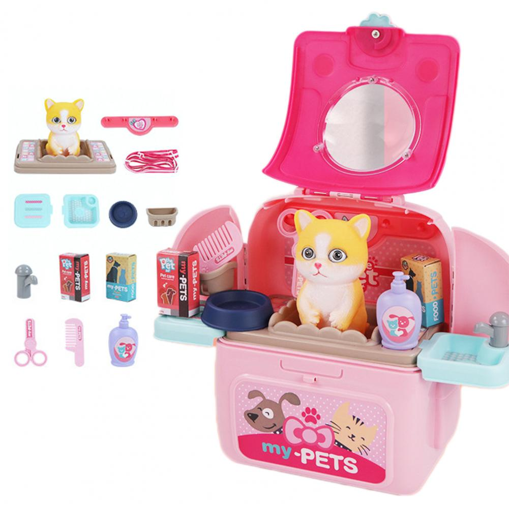 Pet  Backpack Practical  Exquisite Plastic Pretend Play Pet Care Set Cute Pet  Storage  Bag Transformable Toy Backpack For Gifts