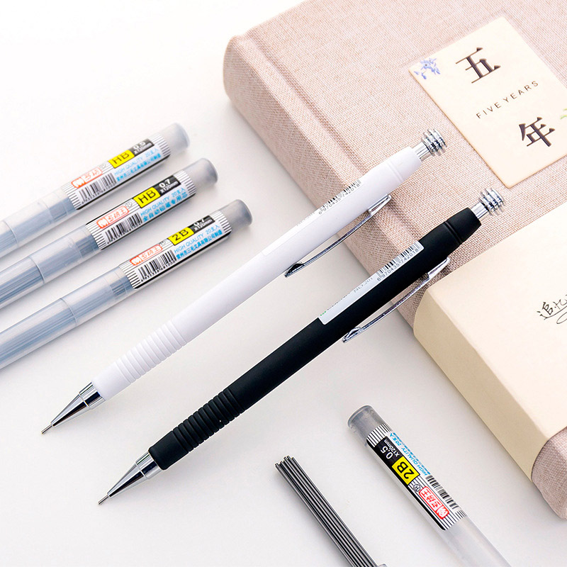 0.5mm 0.7mm Simple Black White Mechanical Pencil Cute Automatic Pencil For Kids Gifts School Office Supplies Drawing Stationery