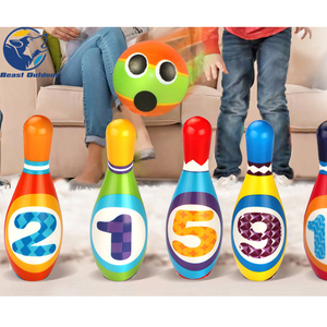 1 Set of Bowling Pins and Balls Solid Safe Fun Educational Toy for Toddlers Kids(China)