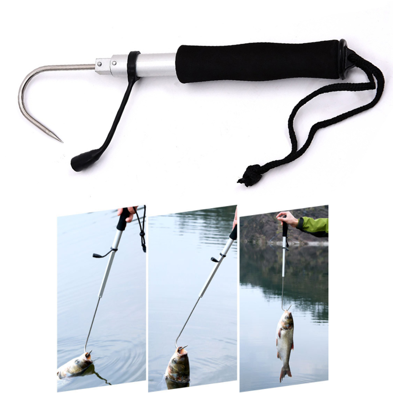 1pc Stainless Steel Fish Landing Telescope Retractable Tool Gaff Hook Spear Saltwater Offshore Ice Fishing Control Tackle