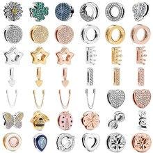 S925 prata cor reflexões clipe contas encantos redondo cristal coroa coração amor contas caber original pandora pulseira feminina
