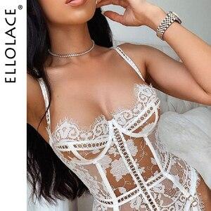 Ellolace Corset Lingerie Set Sexy Bra and Thong Underwear Set See Through Lingerie Set for Women Transparent Erotic Lingerie