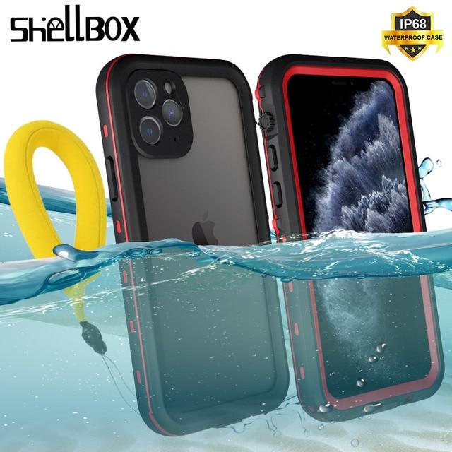 SHELLBOX מקרה עמיד למים עבור iPhone 11 פרו מקסימום 360 מגן כיסוי עמיד הלם שחייה צלילה Coque עבור iPhone11 מתחת למים מקרה