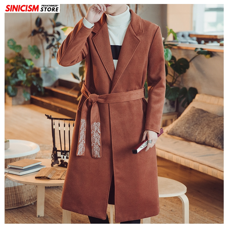 Sinicism Store Mens Long Embroidery Thick Wool Blends Men Chinese Style Warm Jacket Blends 2020 Male Winter Coats 5XL Clothes