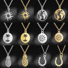 Colliers à breloques de carte du monde en acier inoxydable 100%, palmier, ananas, étoile, fer à cheval, bijoux, livraison directe