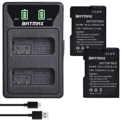 Bateria el14 en el14a 2 peças, led embutida carregador usb para nikon d3500, d5600, d3300, d5100, d5500, p7100, p7700 p7800