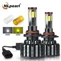 NLpearl 2X автомобиля HB3 9005 светодиодные лампы для передних фар 12000LM 60W 6500K 3000K COB H4 H7 9006 HB4 9012 Hir2 H8 H9 H11 светодиодных фар для авто фары 12V