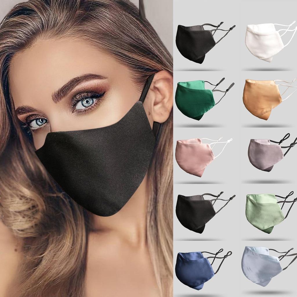 Сатиновая однотонная маска для лица, светильник, классная Крышка для рта, моющаяся маска для ушей, многоразовая дышащая маска для улицы, Mascarila, чехол # LR2 Маски для вечеринки      АлиЭкспресс