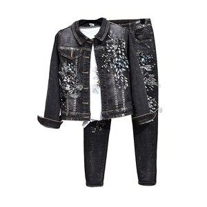 Paetês Bordados de Flores Denim Jacket + Calças Stretch das mulheres Ternos 2019 New Feminino Casual Duas Peças Define Para a Mulher l2946