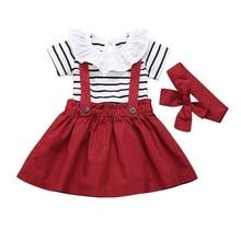 Summer Short Sleeve Kids Clothing For Girls Striped Baby Girls Bodysuit Clothes Set 3Pcs Ruffle Tops+Strap Dress+Headband D30 girls ruffle detail striped dress