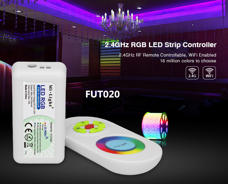 mi light FUT020 RGB/FUT021 LED Dimmer/FUT022/FUT023/FUT025 RGB/FUT027 RGBW/<font><b>FUT028</b></font> Adjustable RGBW 2.4GHz LED Strip Controller image
