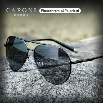 CAPONI Pilot Sunglasses Men Polarized Photochromic Vintage Sun Glasses Classic Alloy Frame Driving Shades For Women UV400 CP3103 yellow lens matel frame men polarized sunglasses uv400 driving glasses for men 4 colors with box