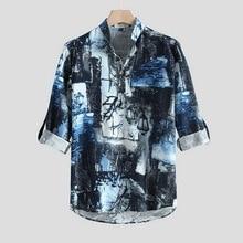 MJARTORIA летние мужские рубашки Мужские лен с коротким рукавом цветочные свободные мешковатые повседневные праздничные рубашки Tee топы