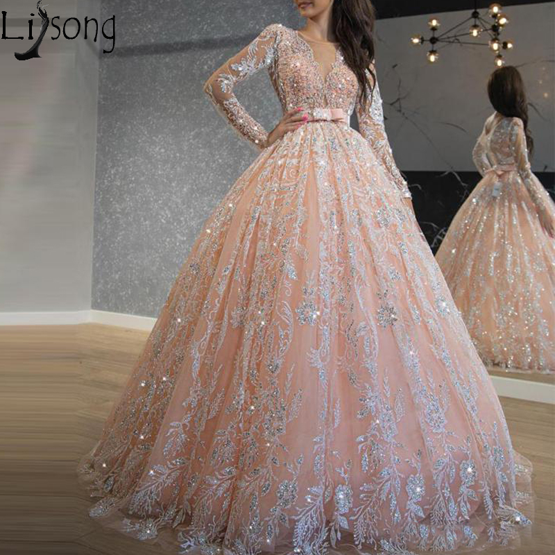 Sparkly Pink Sequined Lace Ball Gown Prom Dresses Jewel Neck Long Sleeve Sweet 16 Dress Long Formal Evening Dress Robe De Soiree