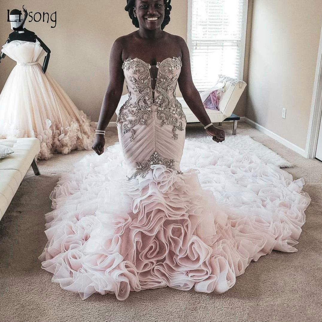 Pretty Blush Pink Rhinestone Mermaid Wedding Dresses Ruffles Tiered Long Train Bridal Gowns Gonna Vestido De Noiva