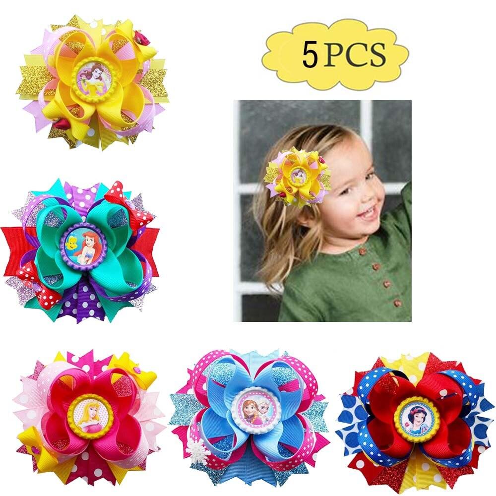 """18 BLESSING Good Girl Boutique 4.5/"""" B Princess Hair Bow Clip Cinderella Frozen"""