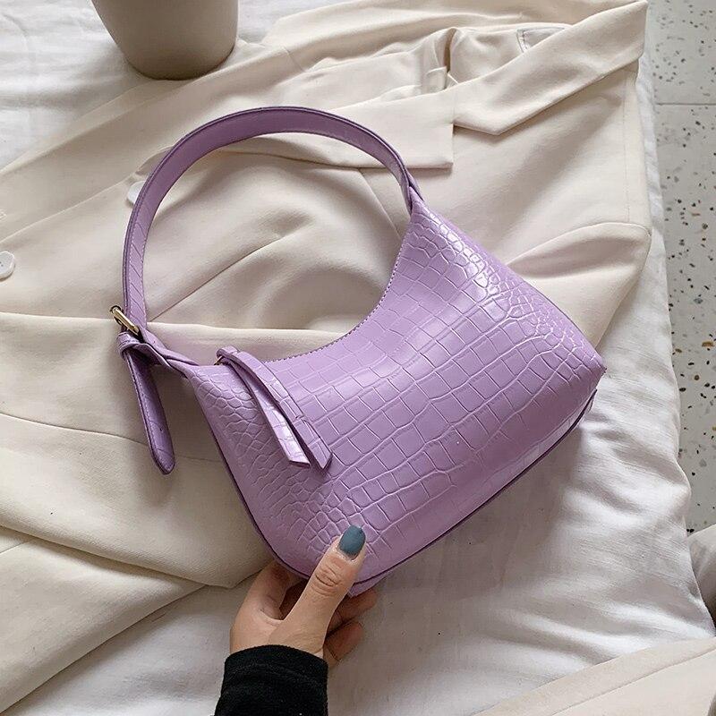 Vintage Purple Alligator Baguette Shape Bag Luxury Leather Handbag 2020 New Fashion Shoulder Bag Clutches Women