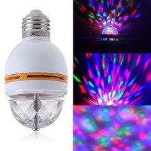 Nowy E27 kolorowy RGB LED obrotowy etap Disco Crystal lampa z żarówką LED