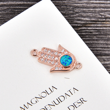 KAMAF 1PCS/Fatima hand evil eye four color opal accessories woman charm wedding jewelry as valentines day party