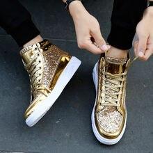 Мужская Высокая обувь с блестками; Высококачественные кроссовки;