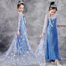 Robe de princesse Disney Elsa pour filles, tenue de carnaval à paillettes bleues, avec cape en Tulle imprimé flocon de neige, manches longues