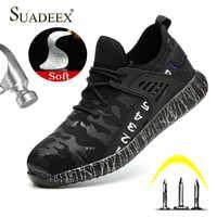 Suadeex trabalho sapatos de segurança à prova de punção trabalho anti-esmagamento construção aço toe indestrutível sapatos dropshipping