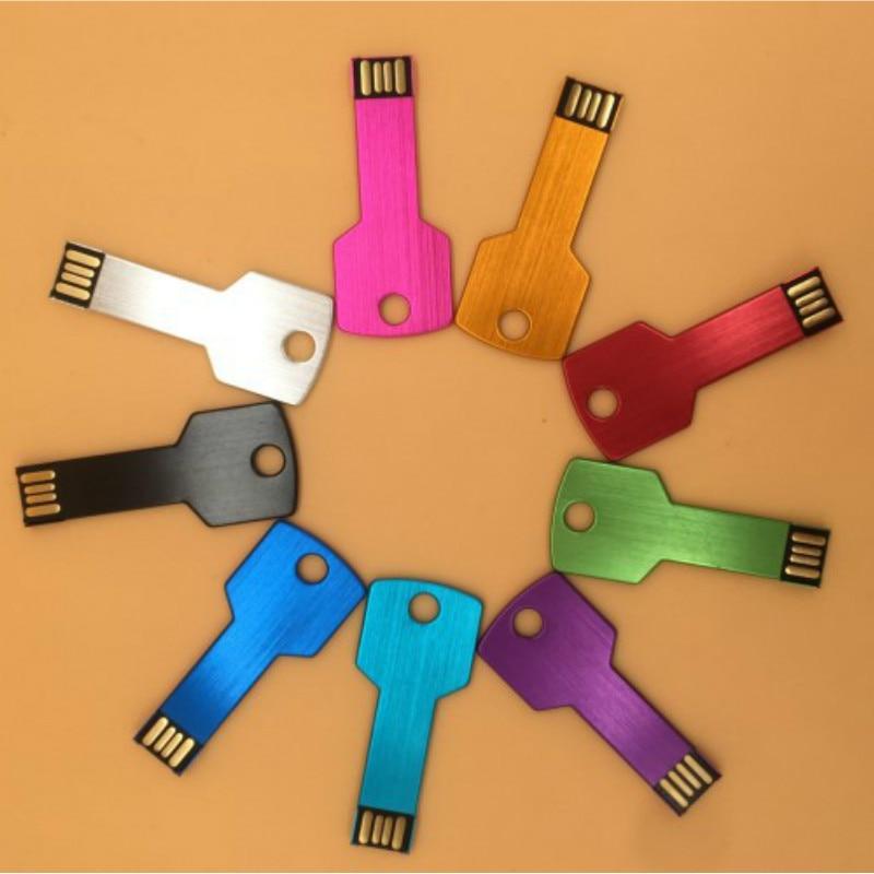 Custom Logo USB Key Shape Pendrive Metal Memory Stick 4GB 8GB 16GB 32GB 64GB Usb Flash Drive Pen Drive Flash Usb Disk Pen Drive