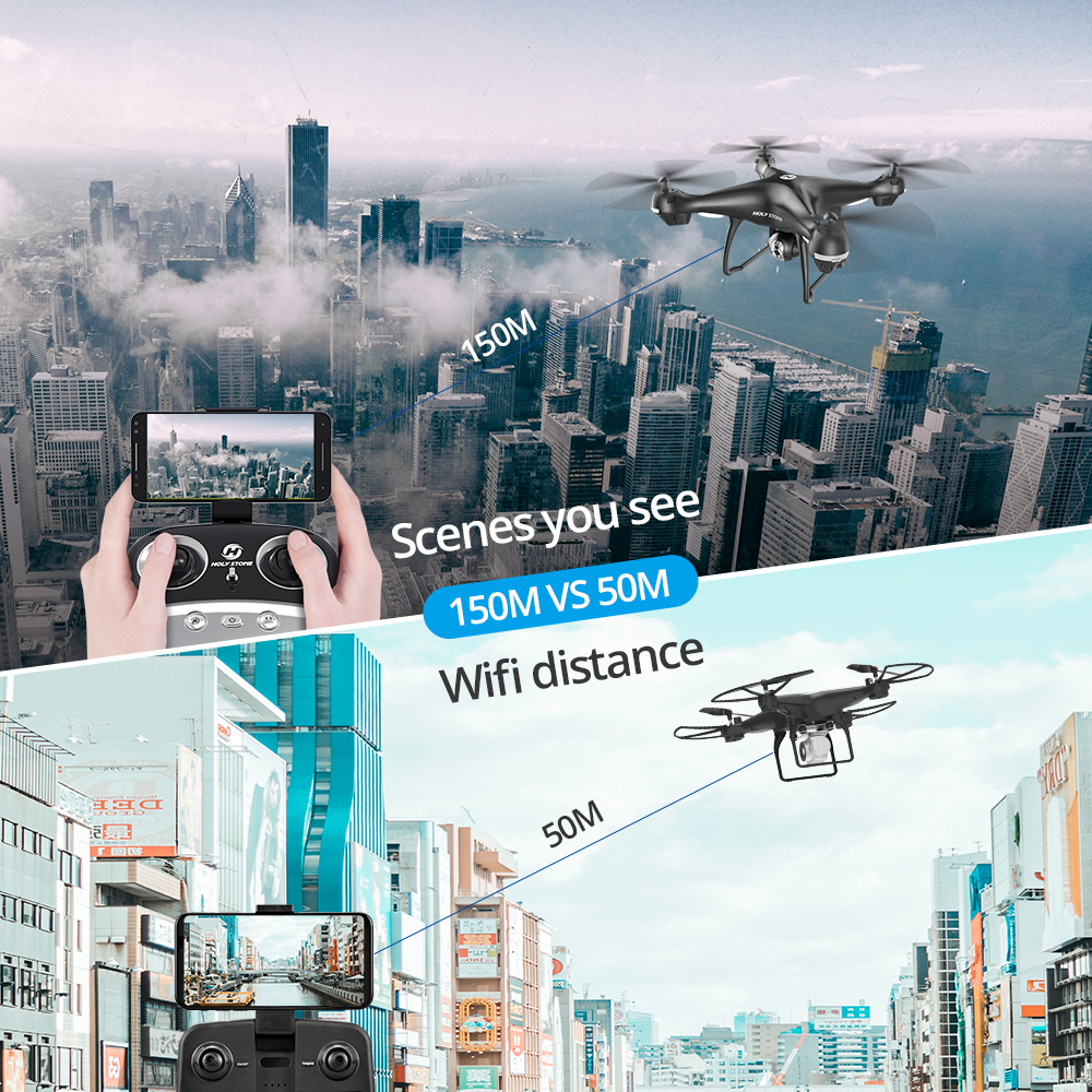 Holy Stone HS100 Drone GPS Profesional FPV WIFI Camera HD 1080P Selfie RC Quadcopter GPS Drones 500m RC Helicopter Quadrocopter (1080P)