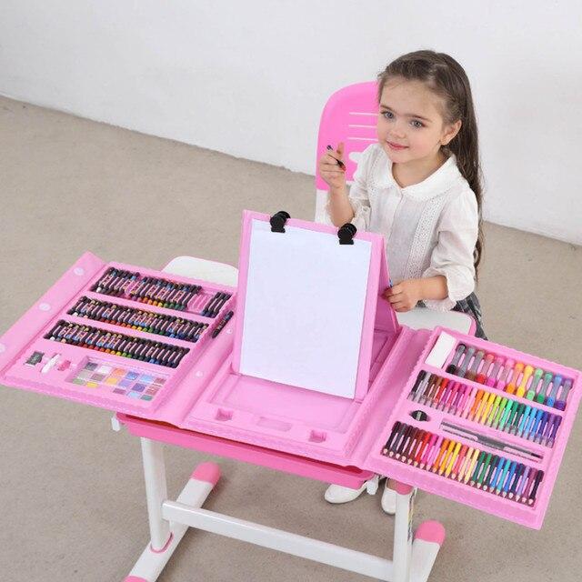 176 adet çocuk çocuklar renkli kalem sanatçı seti seti boyama mum boya işaretleyici kalem fırça çizim alet takımı anaokulu malzemeleri