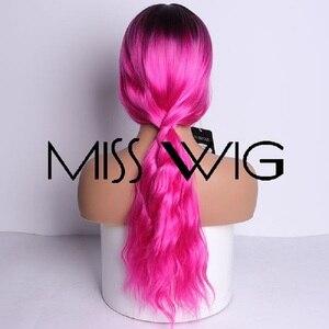 Image 3 - MISS WIG, длинные волнистые парики для черных женщин, афро американские синтетические волосы, серые, коричневые парики с челкой, термостойкий парик