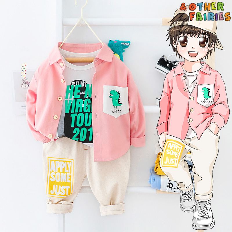 Baby Boy Clothes Cotton Two-piece Suit New Animal Dinosaur Cartoon Letter Printed Shirt Boy Clothes Casual Sports Baby Suit