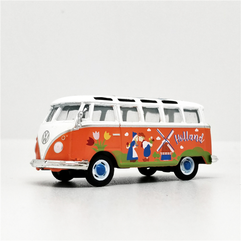 Greenlight 1:64 VW Samba Bus Holland White Orange No Box