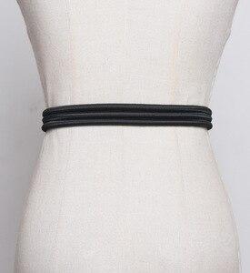 Image 3 - Di modo Pieghe Delle Donne del Metallo Cinture di Moda Femme Cummerbunds Elastici di Colore Solido Accessary