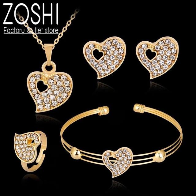 Moda dubai conjuntos de jóias de ouro cristal coração colar pulseira anel brincos conjunto de presente de casamento africano nigéria jóias para mulher 1