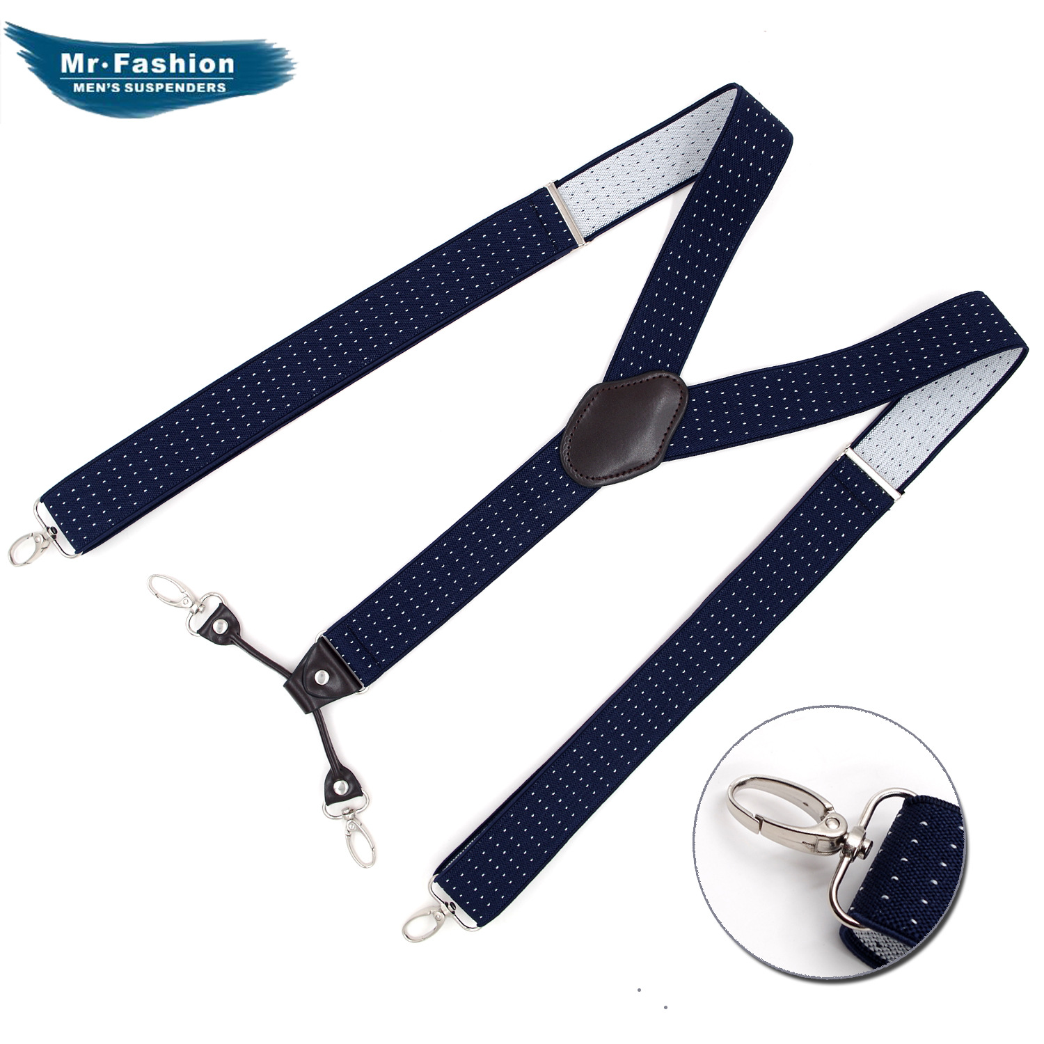 Brand Adult Hook Buckle Strap Fashion Men's 4-Clip Strap Jacquard Dark Blue Bei Dai Jia