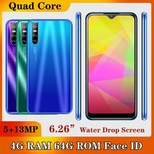 A51 Android Face ID Unlocked 4G RAM 64G ROM MTK Smartphones Original Mobile Phones 13MP Quad Core Wifi Celulars 6.26